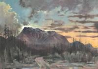 "Jim Davies ""Moonrise / Three Sisters Parkway"" 2020 oil on canvas 40 x 60"" *NEW*"