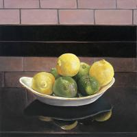 "Linda O'Neill ""Lemon + Lime Still Life I"" 2017 oil on birch 12 x 12"""
