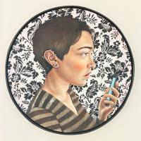 "Campbell Wallace, Reflection, 2018, acrylic and oil on canvas, 27.5"" diameter"
