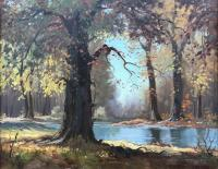"*NEW* Roland Gissing ""Autumn Woods"", circa 1950 oil on canvas 22 x 30"""