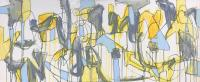 """Tim Rechner """"western winds"""" 2020 acrylic and graphie on canvas 16 x 40 inches *NEW*"""