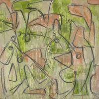 "Tim Rechner ""Eyes Squeezed Shut"" 2012 oil and graphite on canvas 24 x 24"""