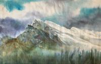 "Yuriko Kitamura ""Rundle Mountain"" 2008 mixed media on washi paper 25 x 39.5"""
