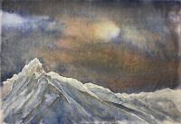 "Yuriko Kitamura ""Moon Through Cloud, Cathedral Mt., Lake O'Hara"" 2009 watercolour on washi paper 25.5 x 38"""