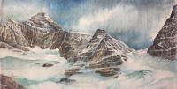 """Yuriko Kitamura """"Mt Biddle"""" 2012 watercolour on washi paper 25 x 50"""""""
