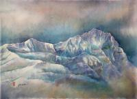 "Yuriko Kitamura ""Mt Odaray, Evening Light"" 2011 watercolour on washi paper 20 x 27"""